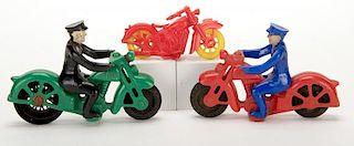 Group of Three Vintage Plastic Motorcycles