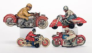 Group of Four Vintage Red Motorcycles