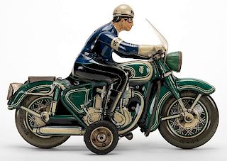 Policeman on a Green Motorcycle