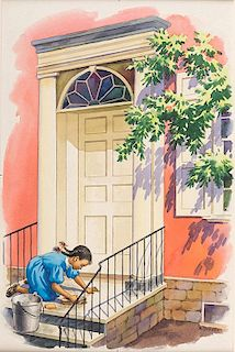 Young Girl on Knees Scrubbing Porch