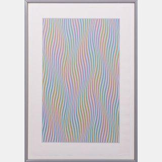 Bridget Riley (b. 1931) Elapse, Screenprint in colors on BFK Rives paper,