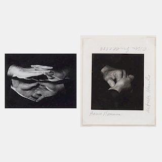Rena Small (b. 1954) Hands of Bill Radawec and Bruce Nauman, 1993, Gelatin silver print,