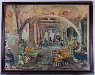 """Michele Cascella """"Market in Portofino"""" Print"""