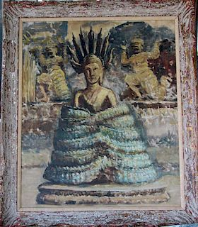 Lillian Mathilde Genth (1876-1953) Bali Indonesia Painting
