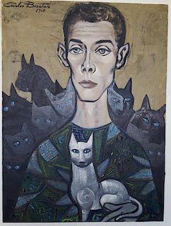 Carlos Bastos Brazil Latin Modernist Mid-Century Cats Bahia