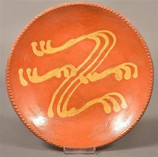 Pennsylvania 19th Century Slip Decorated Plate.