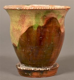Redware Flower Pot Attributed to J. Eberly & Co.