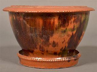 PA 19th Century Mottle Glazed Flower Pot.