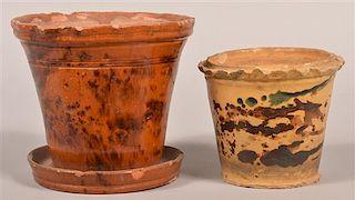 2 PA 19th Century Glazed Redware Flower Pots.