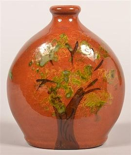 Breininger Redware Flask with Tree Decoration.