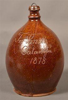 Redware Jug Inscribed F. Smith, Catawissa, 1878.