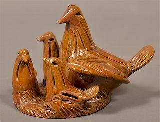 19th Century Glazed Redware Nest of Birds Bank.