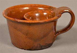 19th Century Glazed Redware Shaving Mug.