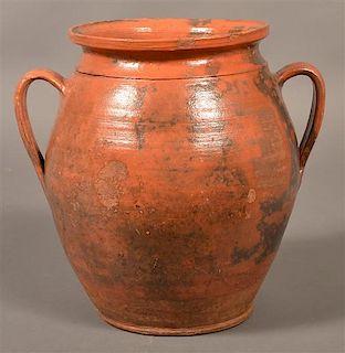 19th Century Mottle Glazed Redware Storage Jar.