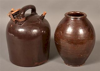 2 Pieces. of 19th Century Glazed Redware.