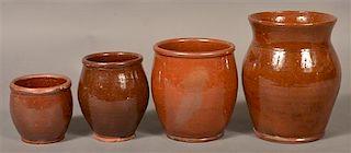 4 19th Century Glazed Redware Storage Jars.