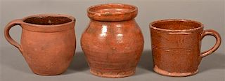 3 Pieces. of 19th Century Glazed Redware.