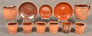 Lot of 11 Pieces of Medinger Redware Pottery.