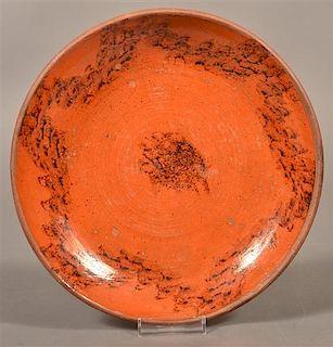 PA 19th Century Redware Plate w/Sponge Dec.