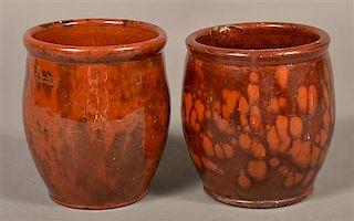 2 PA Mottled Glazed Redware Storage Jars.