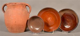 Four Pieces of Antique redware Pottery.