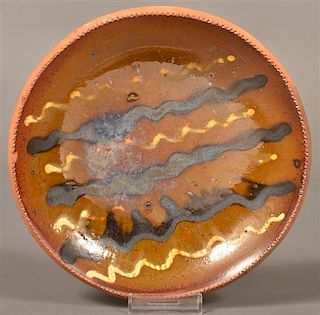 Unsigned Stahl Pottery Redware Plate.