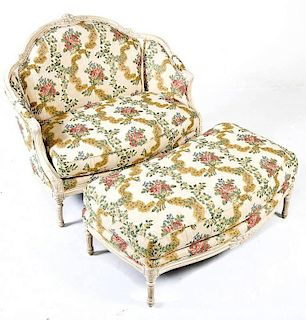 New Orleans French Style Settee & Ottoman