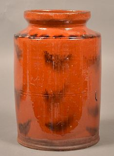 PA 19th Century Mottle Glazed Redware  Jar.