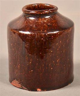 PA 19th Century Glazed Redware Ink Bottle.