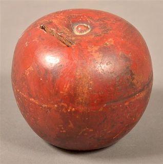 Antique Redware Apple Form Still Bank.