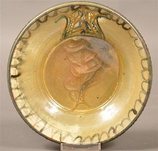 Stahl Redware Bowl with Tulip Decoration.