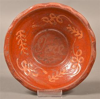 19th Cent. Glazed  Redware Bowl with Slip Dec.
