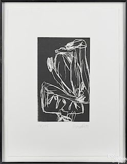 George Baselitz (German, b. 1938), abstract etching of female form, signed lower right, dated 95