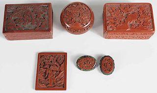 Three Chinese Cinnabar Boxes