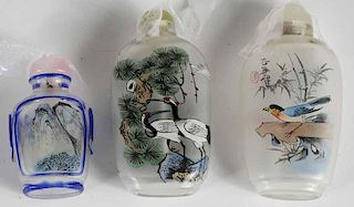 Three Painted Snuff Bottles