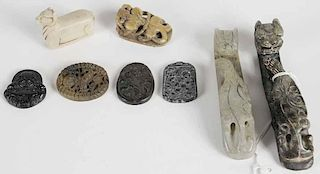 Eight Pieces Chinese Hardstone