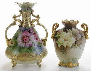 Two Hand-Painted Nippon Vases