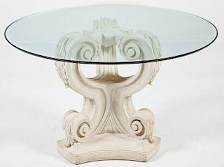 French Style Glass Top Pedestal Table