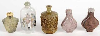 Group of Five Asian Stone Snuff