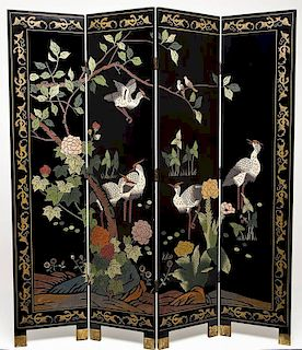 Chinese 4 Panel Lacquered Screen