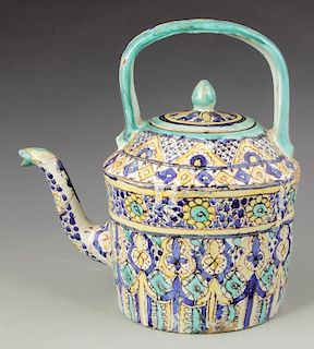 Antique Persian Polychrome Glaze Teapot