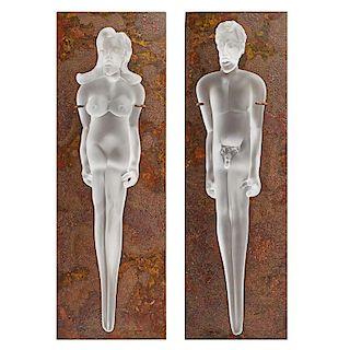 RICHARD JOLLEY Two glass sculptures