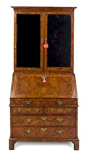 * A Queen Anne Walnut Secretary Bookcase Height 84 x width 41 x depth 23 inches.
