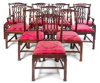 * A Set of Irish George III Mahogany Dining Chairs Height 38 1/8 inches.