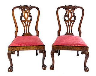 A Pair of Early George III Mahogany Dining Chairs Height 39 3/4 inches.