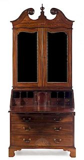 * A George III Mahogany, Oak and Marquetry Secretary Bookcase Height 99 1/2 x width 40 1/2 x depth 22 inches.