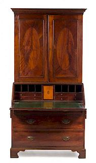 A George III Style Mahogany Secretary Bookcase Height 85 1/2 x width 42 1/4 x depth 23 1/2 inches.
