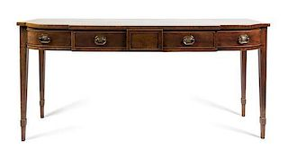 A George III Mahogany Sideboard Height 36 x width 75 1/4 x depth 26 3/4 inches.
