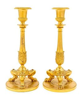 A Pair of English Gilt Bronze Candlesticks Height of each 11 inches.