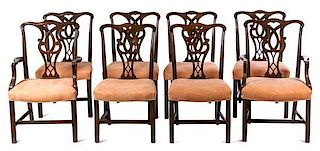 A Set of Eight George III Style Mahogany Dining Chairs Height 39 1/4 inches.